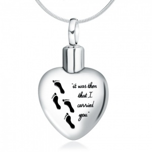 Footprints in the Sand Ashes Urn Locket, Personalised