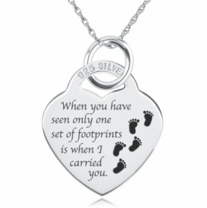 Footprints In The Sand Heart Shaped Sterling Silver Necklace (can be personalised)