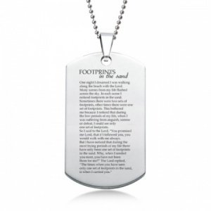 Footprints In The Sand Dog Tag, Personalised, Stainless Steel