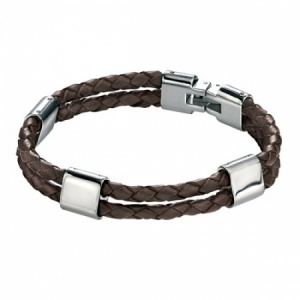 Mens Brown Leather & Stainless Steel Bracelet by Fred Bennett