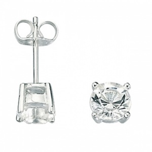 Mens Sterling Silver & Cubic Zirconia Stud Earrings by Fred Bennett