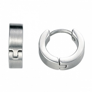 Mens Brushed Stainless Steel Cuff Earrings by Fred Bennett