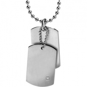 Double Stainless Steel Cubic Zirconia Dog Tags by Fred Bennett (can be personalised)