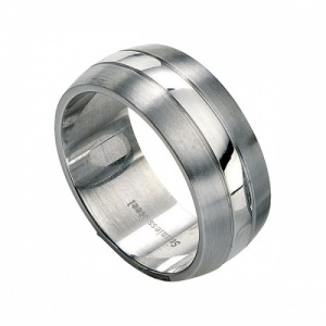 Men's Contrast Brushed & Polished Stainless Steel Ring by Fred Bennett