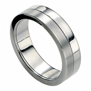 Mens Two-Tone Polished & Brushed Stainless Steel Ring by Fred Bennett