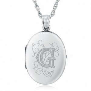 Initial/Letter G Sterling Silver 2 Photo Locket (can be personalised)