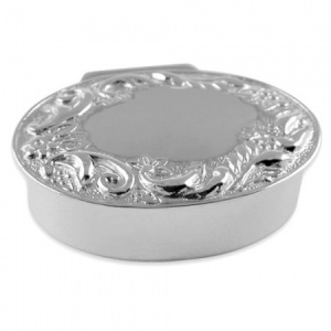 Oval Garland Hallmarked Sterling Silver Pill Box (can be personalised)
