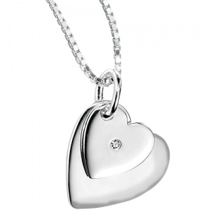 Girls Double Heart Shaped Sterling Silver & Diamond by D for Diamonds (can be personalised)