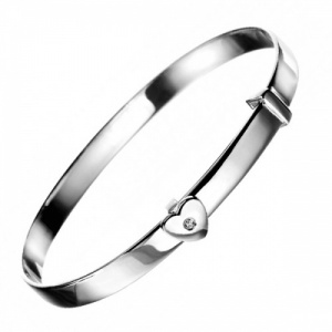Girls Heart Sterling Silver & Diamond Bangle by D for Diamond (can be personalised)