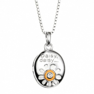 Girls Daisy, Daisy... Oval Shaped Locket Sterling Silver & Diamond by D for Diamond