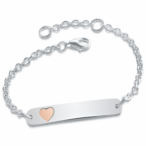 Girls Pink Heart Identity Bracelet, Personalised, Sterling Silver, Adjustable