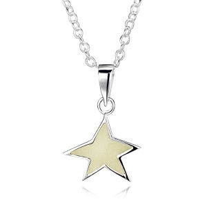Glow in the Dark Star Necklace, Sterling Silver