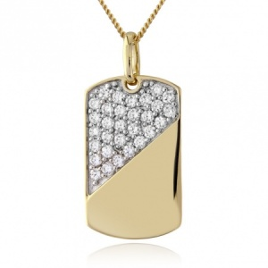 Gold Plated Sterling Silver Dog Tag, with Cubic Zirconia (can be personalised)