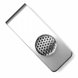 Golf Ball Sterling Silver Hallmarked Money Clip (can be personalised)