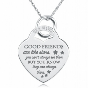 Good Friends are Like Stars, Heart Necklace, Personalised, 925 Sterling Silver