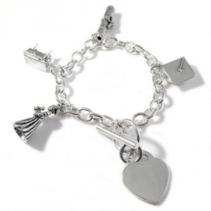 Graduation Charm Bracelet with Heart - 925 Sterling Silver Personalised/Engraved