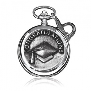 Graduation Congratulations Pewter Quartz Pocket Watch (can be personalised)