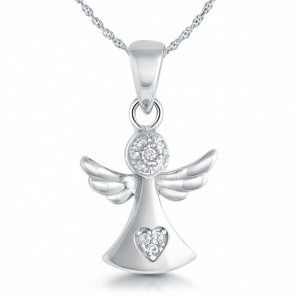 Guardian Angel Necklace, Cubic Zirconia Heart & Sterling Silver