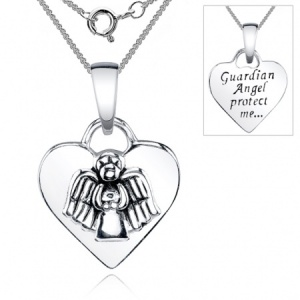 Guardian Angel Protect Me Heart Sterling Silver Necklace