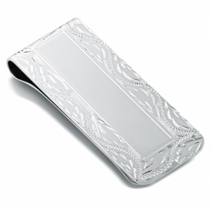 Hand Engraved Border Money Clip, Personalised, Sterling Silver