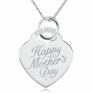 Happy Mother's Day Heart Necklace/Pendant - 925 Sterling Silver Personalised/Engraved