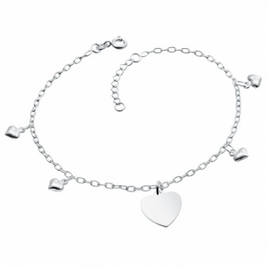 Heart Anklet, Personalised, Sterling Silver, Adjustable