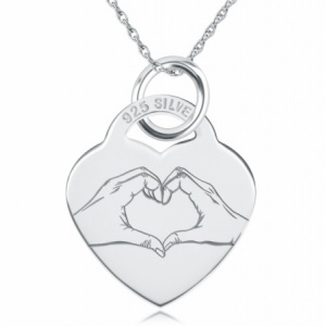 Heart Hands Heart Necklace, Personalised, 925 Sterling Silver