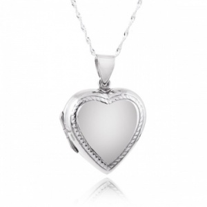 Heart Shaped Sterling Silver 2 Photo Locket with Bead Border (can be personalised)
