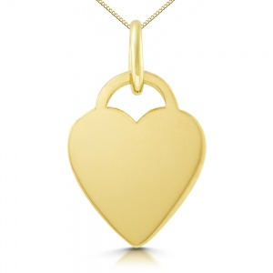 Heart Shaped 9ct Gold Necklace, Personalised / Engraved