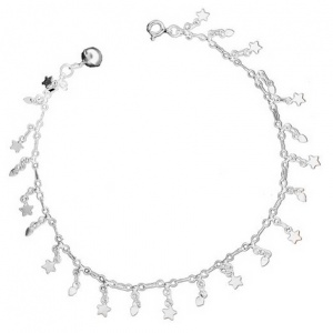 Hearts & Stars Anklet, with Small Bell, 925 Sterling Silver