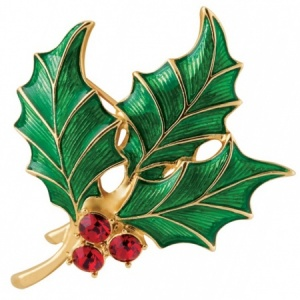 Holly Brooch, Enamel, Gold Plated & Austrian Crystals