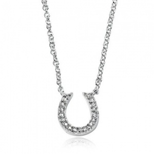 Equestrian Cubic Zirconia Horseshoe Sterling Silver Necklace