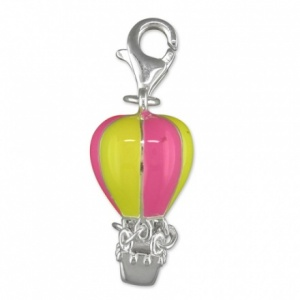 Hot Air Ballon with Pink & Green Enamel & Sterling Silver Charm