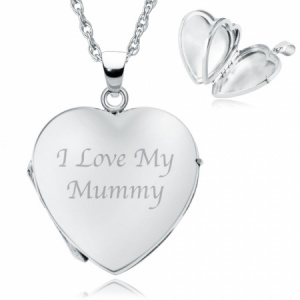 I Love my Mum, Mummy etc. 4 Photo Locket. Personalised, Sterling Silver