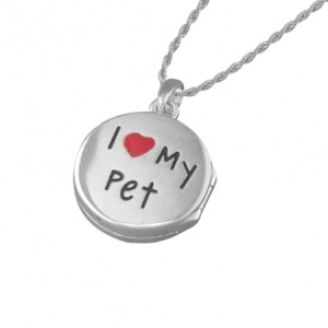 Girls I Love My Pet Paw Print Sterling Silver Locket Necklace by Pippa