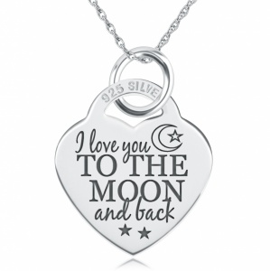 I Love You to the Moon & Back Necklace Personalised / Engraved, 925 Sterling Silver