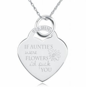 If Auntie's were Flowers I'd Pick You Necklace, Personalised, Sterling Silver