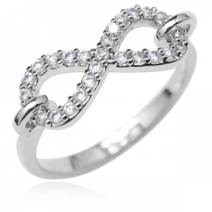 Infinity Symbol Ring, Cubic Zirconia & Sterling Silver