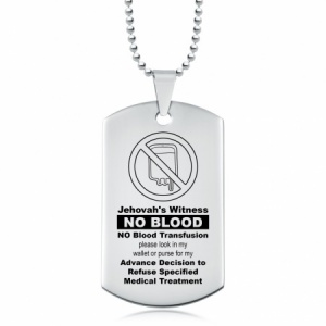 Jehovah's Witness, No Blood Transfusion Dog Tag, Personalised