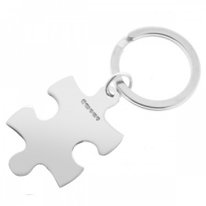 Jigsaw Puzzle Keyring, Personalised, Sterling Silver, Hallmarked
