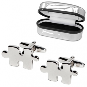 Jigsaw Puzzle Piece Cufflinks, with Chrome Box (can be personalised)