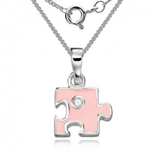 Children's Jigsaw Puzzle Necklace, Pink & Sterling Silver