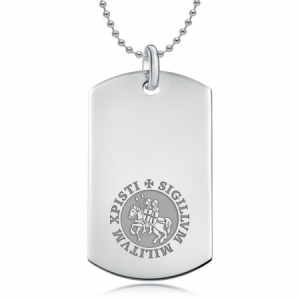 Knights Templar Dog Tag, Personalised / Engraved, 925 Sterling Silver