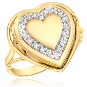 Ladies Heart Locket Ring, Personalised, 9ct Gold, CZ Border