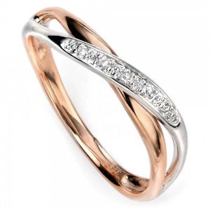 Ladies Diamond Twist Ring, 9ct Rose & White Gold