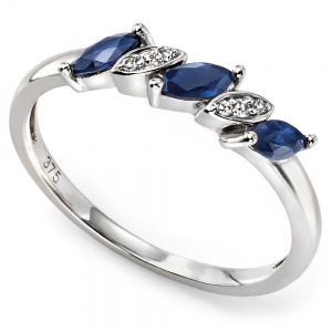 Ladies Sapphire & Diamond Ring, 9ct White Gold