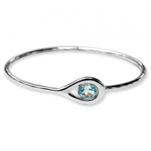 Ladies Blue Topaz Bangle Hallmarked Sterling Silver