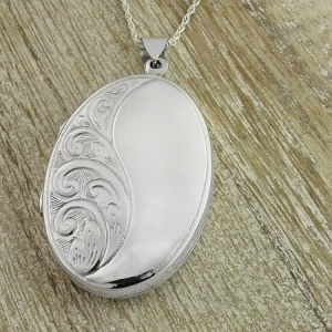 Large Oval Half Engraved Sterling Locket (can be personalised)