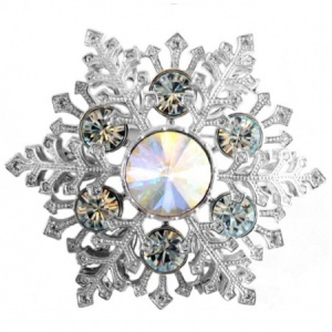 Large Snowflake Brooch with Austrian Crystals, Rhodium Plated