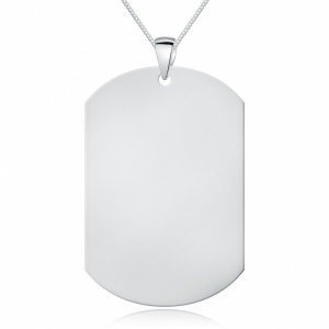 Large 9ct White Gold Dog Tag, Personalised / Engraved, Oblong